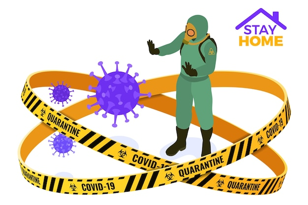 Coronavirus quarantine stay home. doctor in chemical protective clothing coverall and gas masks stop coronavirus. quarantine from pandemic  outbreak.  isometric Premium Vector
