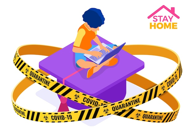 Coronavirus quarantine stay home. online education or distance exam with isometric character internet course warning barrier tape e-learning from home girl studying on laptop isometric Premium Vector
