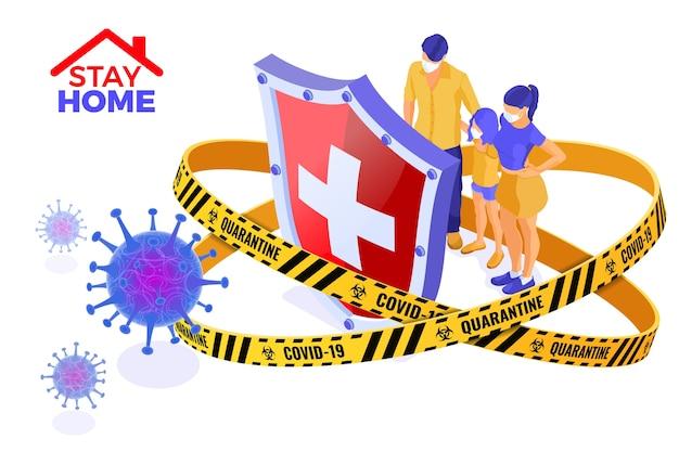 コロナウイルスの検疫は、警告バリアテープ内のマスクで家族を保護し、家族を保護します。パンデミックコロナウイルスの発生。等角投影図 Premiumベクター