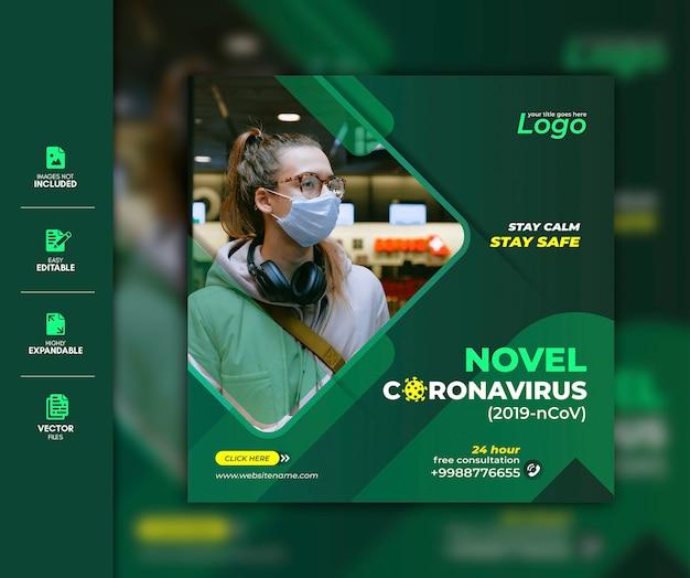 Coronavirus social media post template premium Premium Vector
