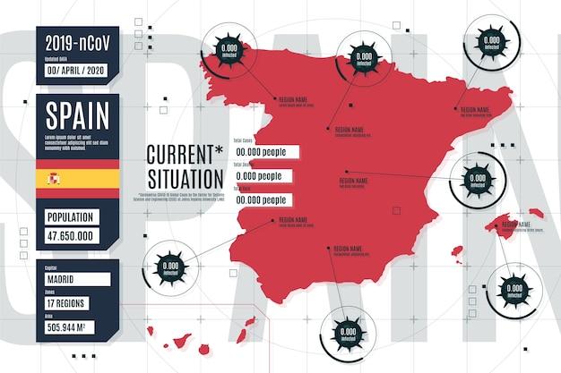 Coronavirus spain country map infographic | Free Vector