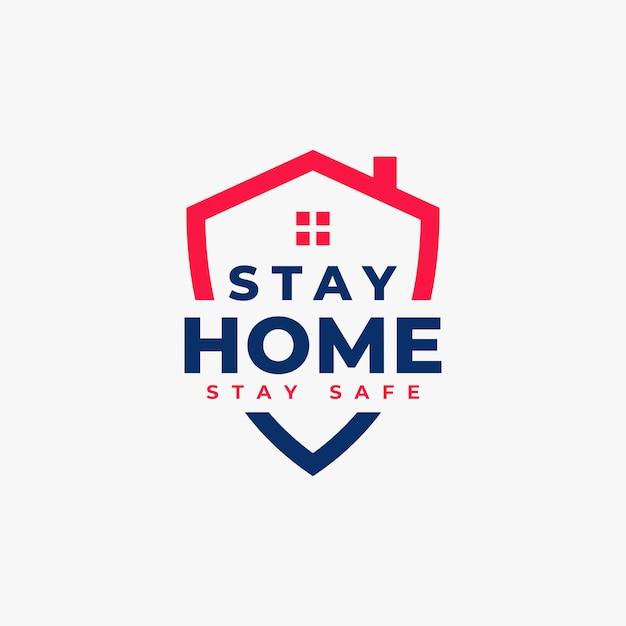 Coronavirus stay home stay safe logo concept Premium Vector