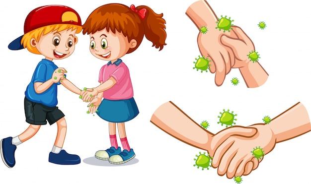 Коронавирусная тема с людьми, касающимися рук микробами Бесплатные векторы