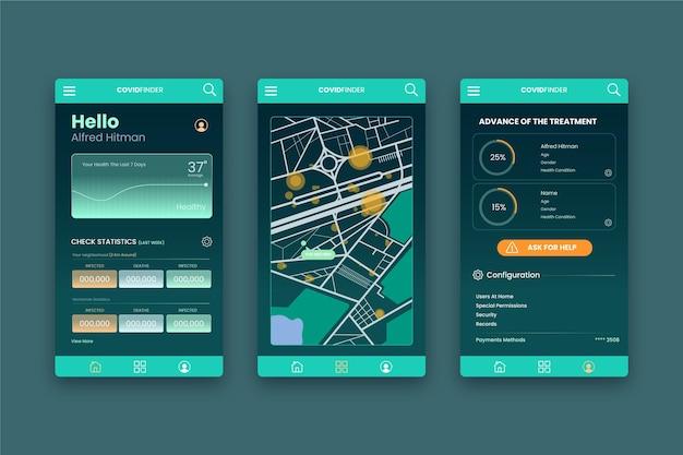 Coronavirus tracking location app - concept Vettore gratuito