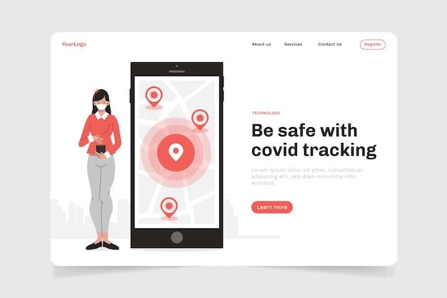 Pagina di destinazione dell'app di localizzazione del coronavirus Vettore gratuito