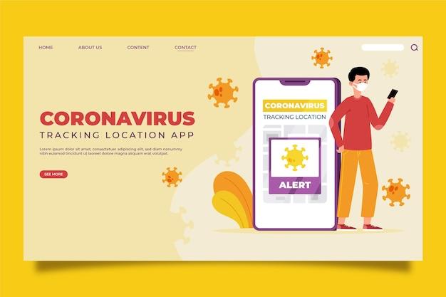 Coronavirus tracking location app landing page Free Vector