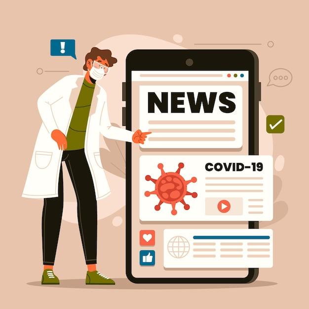 Концепция обновления коронавируса Бесплатные векторы