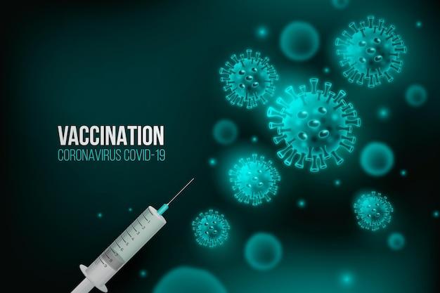 La vaccinazione contro il coronavirus sfondo batteri blu Vettore gratuito