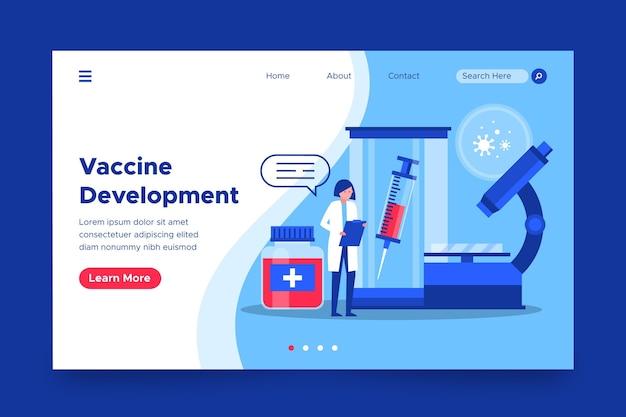 Pagina di destinazione per lo sviluppo del vaccino contro il coronavirus Vettore gratuito