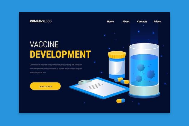 Разработка коронавирусной вакцины - целевая страница Бесплатные векторы