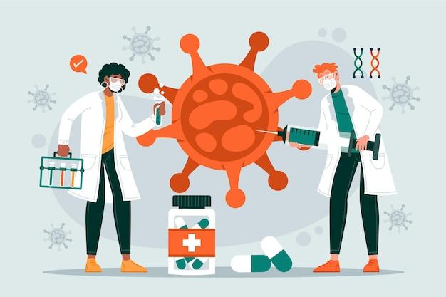 Разработка коронавирусной вакцины Бесплатные векторы