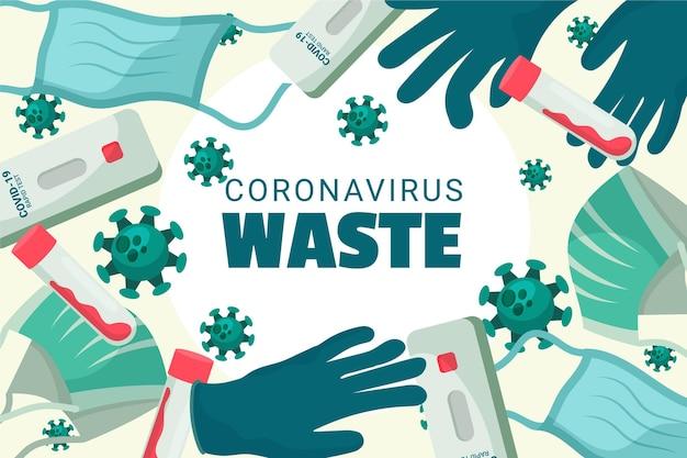 Sfondo dei rifiuti di coronavirus Vettore gratuito