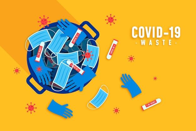コロナウイルス廃棄物の背景 Premiumベクター