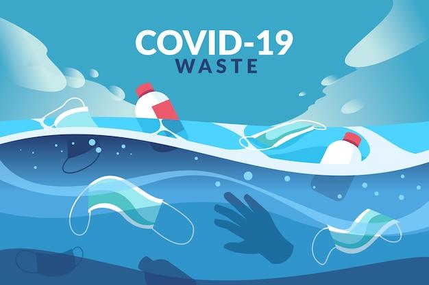 Rifiuti di coronavirus sullo sfondo dell'oceano illustrati Vettore gratuito