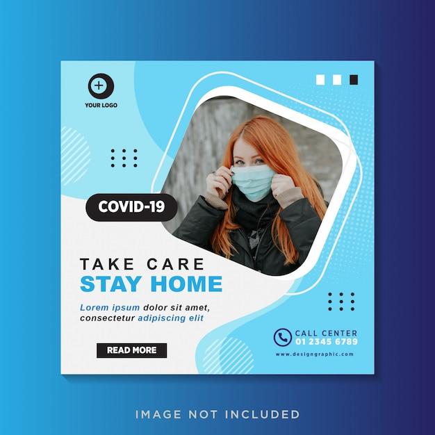 Coronavirus социальные медиа пост дизайн шаблона Premium векторы