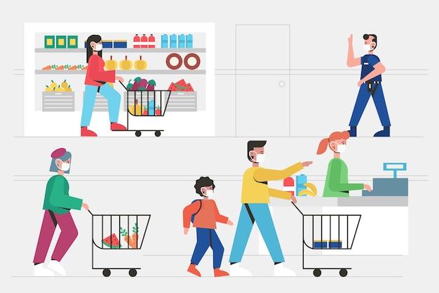Coronavirus супермаркет иллюстрация Бесплатные векторы