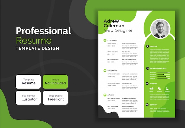 Корпоративный и профессиональный синий и черный дизайн резюме учебного плана Premium векторы