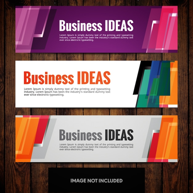Corporate banner design templates with multicolored rectangles Free Vector