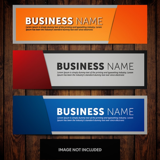 Corporate banner design templates with orange blue and grey backgrounds