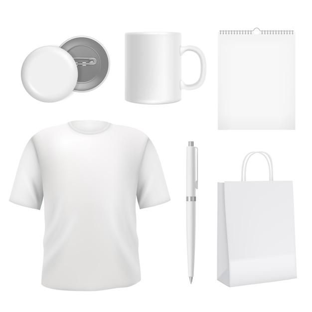 Corporate blank souvenirs. business identity elements template Premium Vector