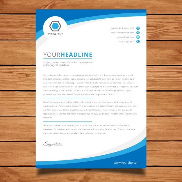 Corporate blue brochure template Free Vector