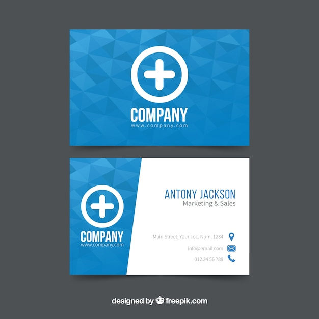 Corporate blue card Free Vector