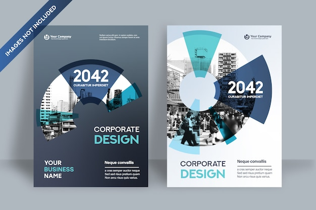 Corporate book cover design template in a4. Premium Vector