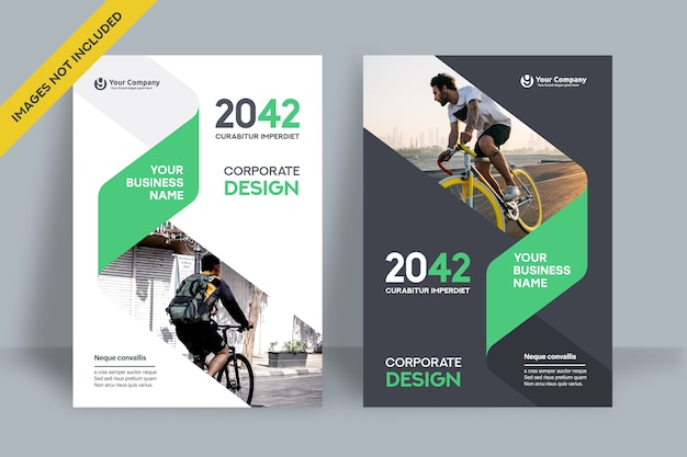 Corporate book cover design template. Premium Vector