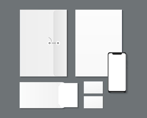 Corporate branding identity design. blank smartphone, paper, envelopes, business cards mockup. Premium Vector