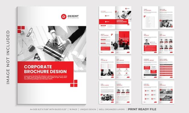 企業パンフレットデザインテンプレート、会社概要パンフレットテンプレート Premiumベクター