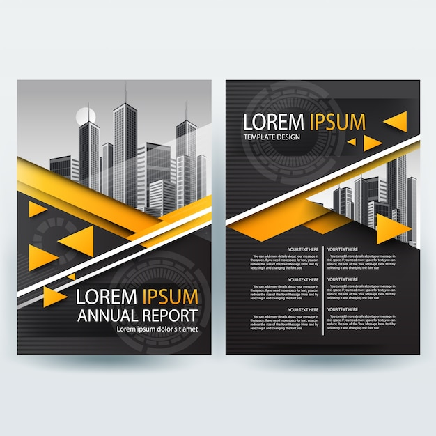 Corporate Brochure, Flyer Template with Yellow and Black Geometric Shapes
