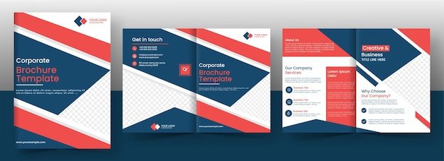 Corporate brochure template or cover page layout in front and back view. Premium Vector