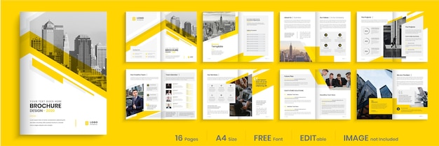 Corporate brochure template design, creative business brochure template layout Premium Vector