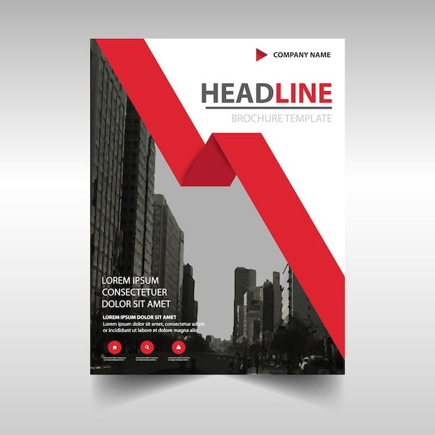 corporate brochure template with a red geometric ribbon vector
