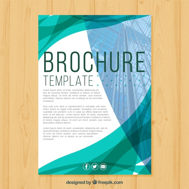 Corporate brochure with abstract shapes