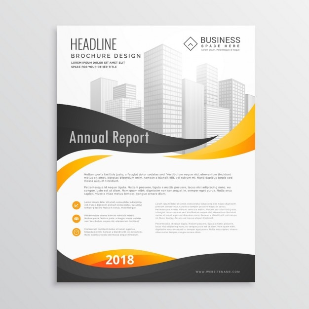 Corporate brochure with black and yellow wavy shapes Free Vector