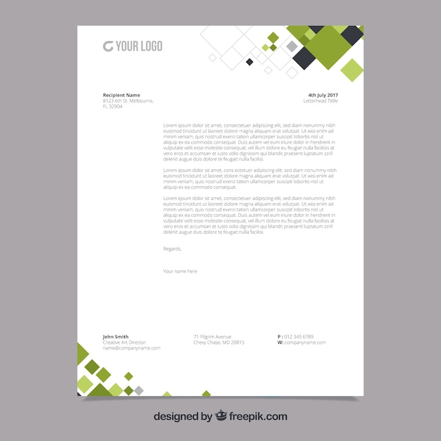 Corporate brochure with black and green geometric shapes Premium Vector