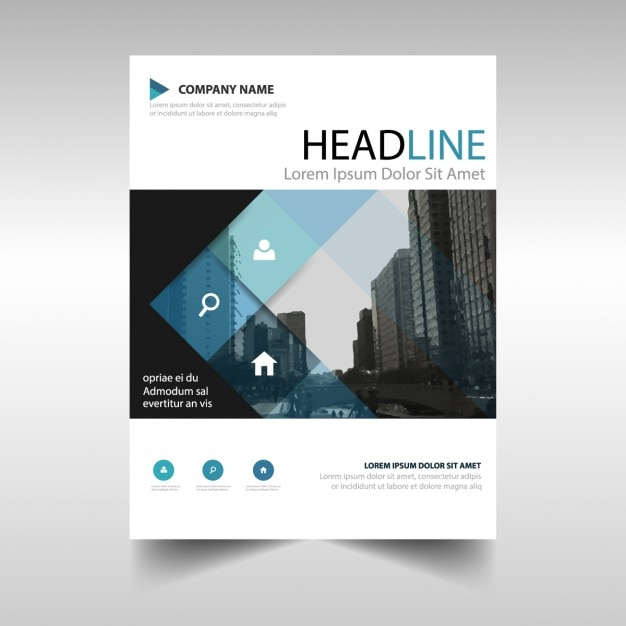 Corporate Brochure With Blue Squares Vector Free Download