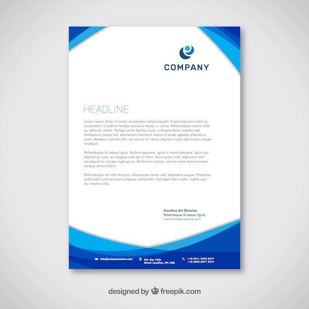 Corporate brochure with blue wavy shapes