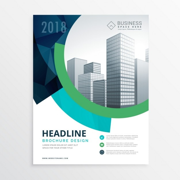 Corporate brochure with circular shapes Free Vector