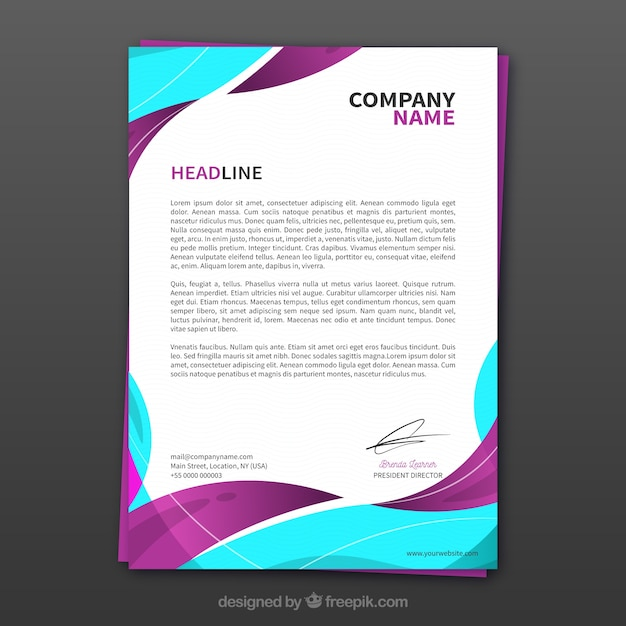 Corporate brochure with colorful wavy shapes