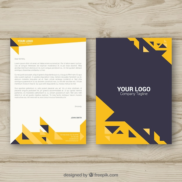 Corporate brochure with yellow triangles