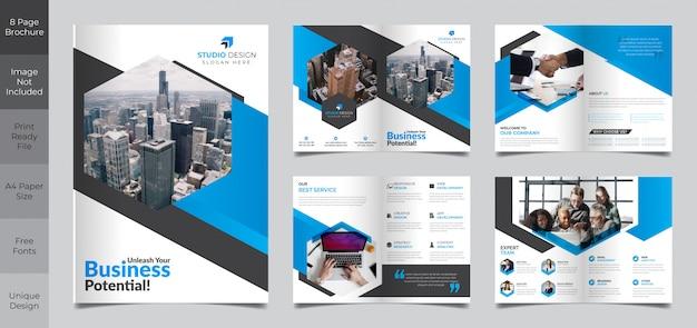 Корпоративный бизнес 8-страничный шаблон брошюры Premium векторы