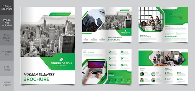 Corporate business 8 page brochure template Premium Vector