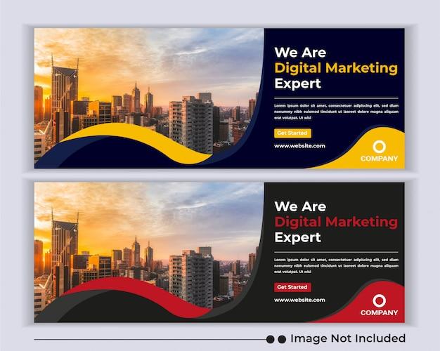 Корпоративный бизнес агентство веб-баннер социальные медиа facebook шаблон обложки. Premium векторы