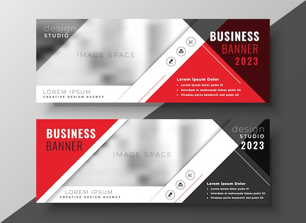 Corporate business banner in red geometric style Free Vector
