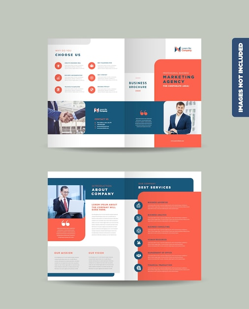 企業ビジネス二つ折りパンフレットデザインテンプレート Premiumベクター