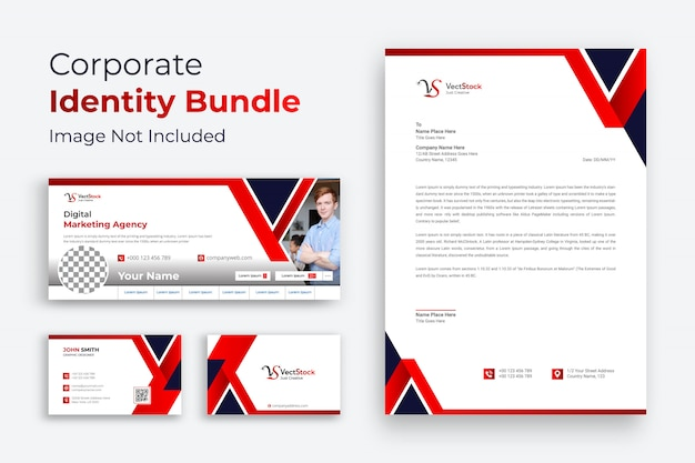 Corporate business brand identity design vector stationery Premium Vector