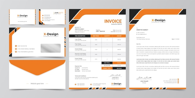 Corporate business branding identity, letterhead, business card, invoice, envelope design Premium Vector