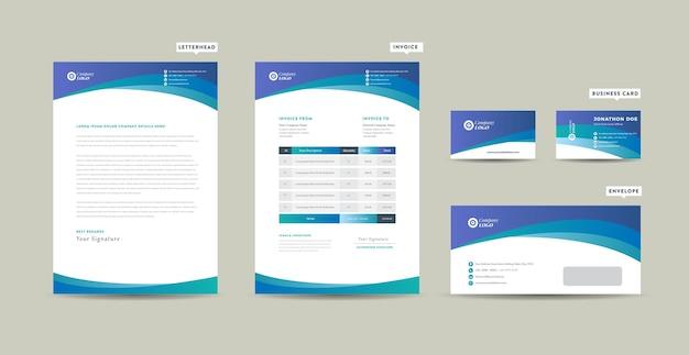 コーポレートビジネスブランディングアイデンティティ、ステーショナリーデザイン、レターヘッド、名刺、請求書、封筒、スタートアップデザイン Premiumベクター